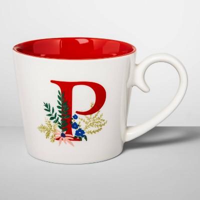16oz Stoneware Monogram Mug Cream P - Opalhouse™