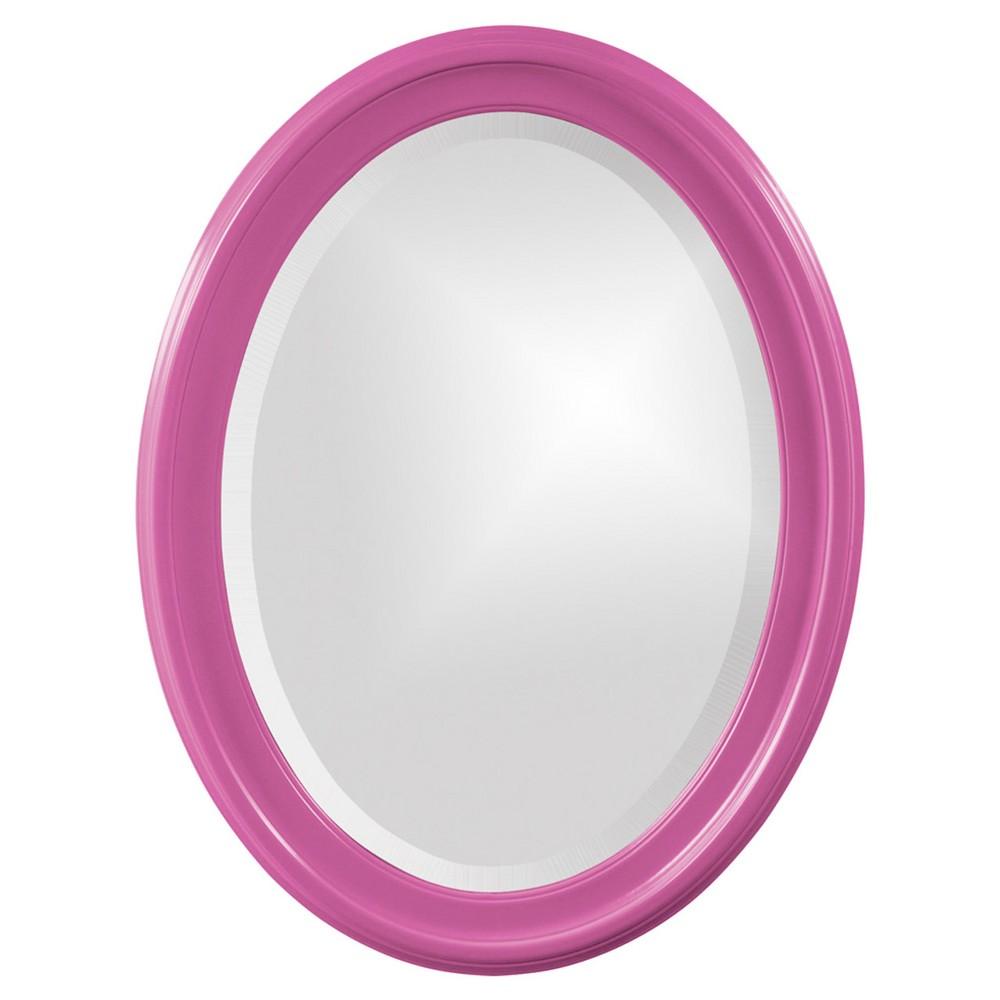 Image of Howard Elliott - George Glossy Hot Pink Oval Mirror, Warm Neon Pink