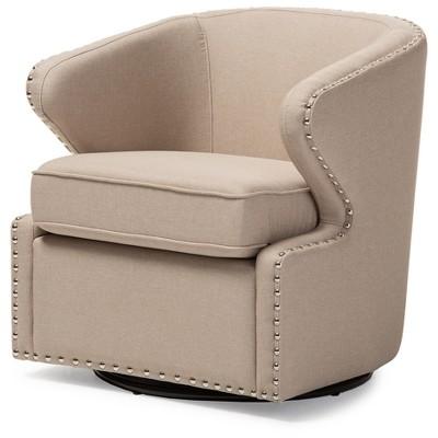 Finley Mid - Century Modern Fabric Upholstered Swivel Armchair - Buff Beige - Baxton Studio