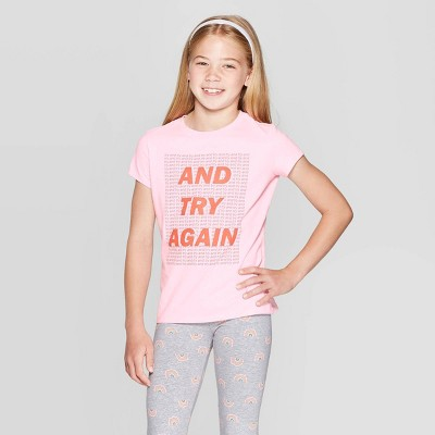 """view Girls' Short Sleeve """"Try Again"""" Graphic T-Shirt - Cat & Jack Light Pink on target.com. Opens in a new tab."""
