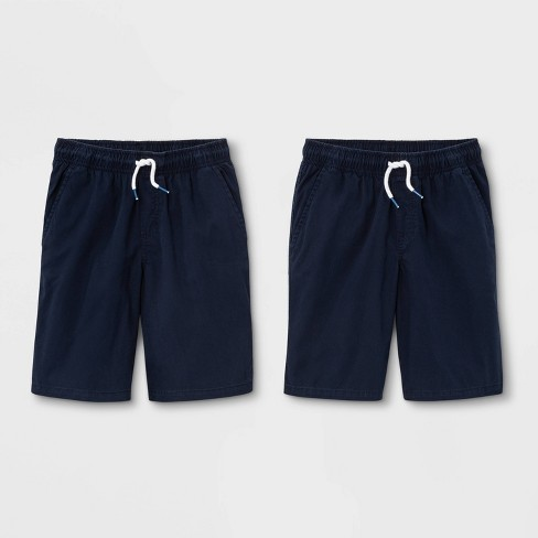 Boys' 2pk Pull-On Woven Shorts - Cat & Jack™ Navy - image 1 of 2