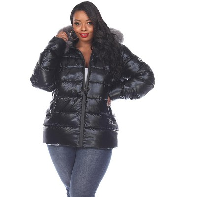 Women's Plus Size Metallic Puffer Coat with Hoodie - White Mark
