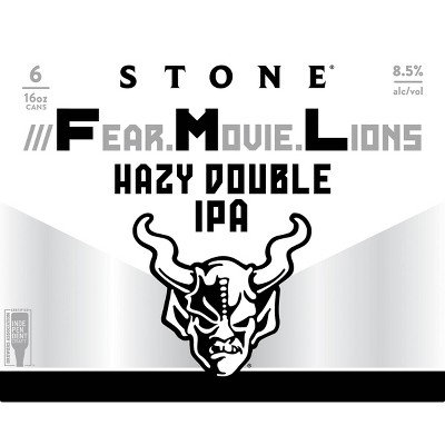 Stone ///Fear.Movie.Lions Double IPA Beer - 4pk/16 fl oz Cans