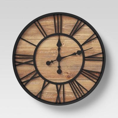 Roman 23  Wall Clock Black Bronze/Pine Finish - Threshold™