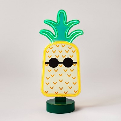 Faux Neon Tabletop Pineapple Sign - Sun Squad™