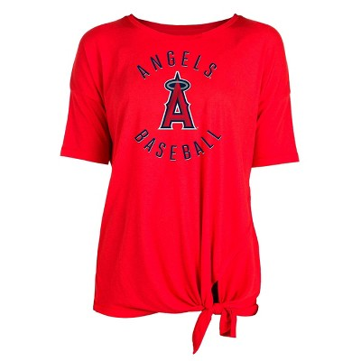 MLB Los Angeles Angels Women's Poly Rayon Front Knot T-Shirt