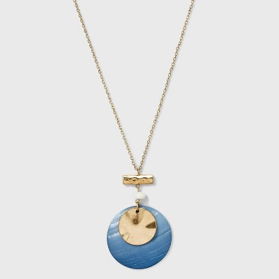Disc Drop Pendant Necklace - A New Day™ Blue
