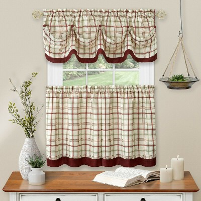 Kate Aurora Country Farmhouse Plaid 3 Pc Tattersall Cafe Kitchen Curtain Tier & Valance Set