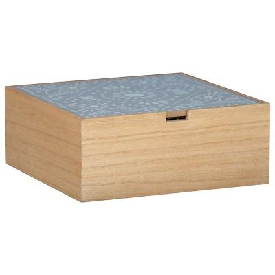 "White Botanical 8x8"" Lidded Decorative Wood Storage Box - Foreside Home & Garden"