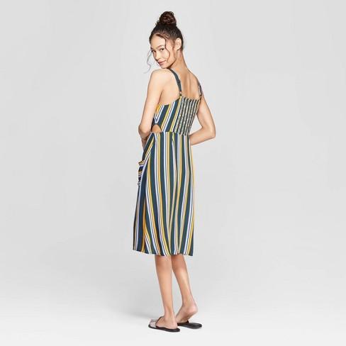 f279476c8d1d Women s Striped Square Neck Strappy Button Front Midi Dress - Xhilaration™  Black   Target