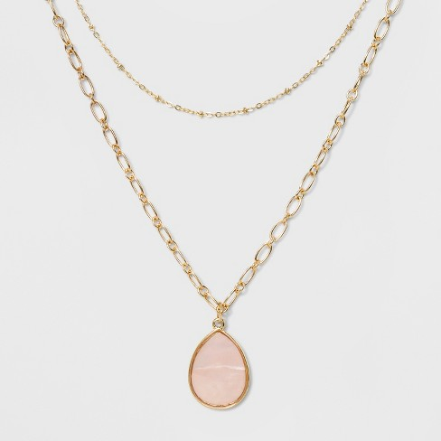 Two Rows and Mother of Pearl Drop Short Necklace - A New Day™ Pink/Gold - image 1 of 3