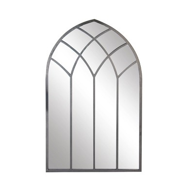 Modern Iron Framed Arched Window Wall Mirror Gray - Olivia & May