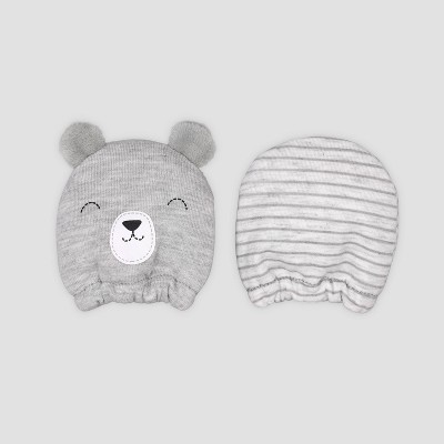Baby Boys' 2pk Bear Mittens - Just One You® made by carter's Gray