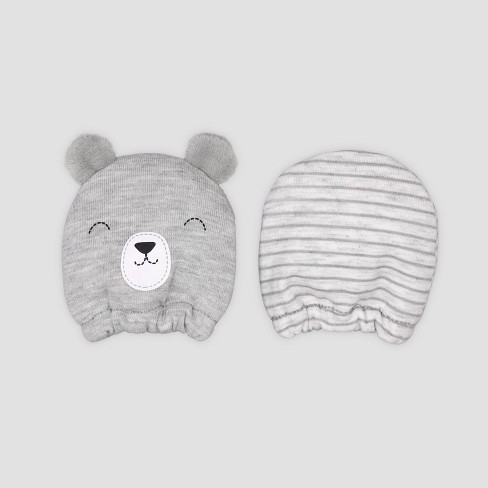 Baby Boys' 2pk Bear Mittens - Just One You® made by carter's Gray - image 1 of 1