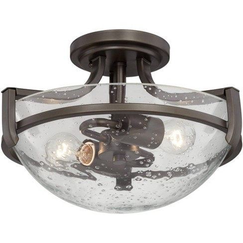 Regency Hill Modern Ceiling Light Semi Flush Mount Fixture Oil Rubbed Bronze 13 Wide 2 Light Clear Seedy Glass Bowl For Bedroom Target