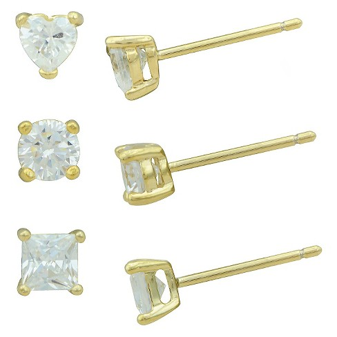 Women's Cubic Zirconia Heart-Stud-and Square Stud Earring Set in Gold Plating (4mm) - image 1 of 1