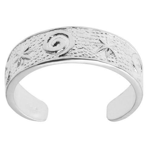 Women's Tressa Collection Adjustable Star Swirl Toe Ring - Silver - image 1 of 2