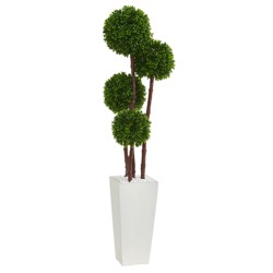 4ft Boxwood Artificial Topiary Tree In Planter - Nearly Natural