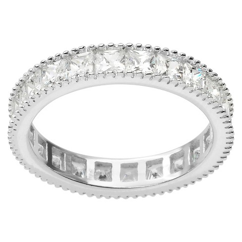 2 CT. T.W. Square Cut CZ Channel Set Milgrain Band in Sterling Silver - Silver (3mm) - image 1 of 3