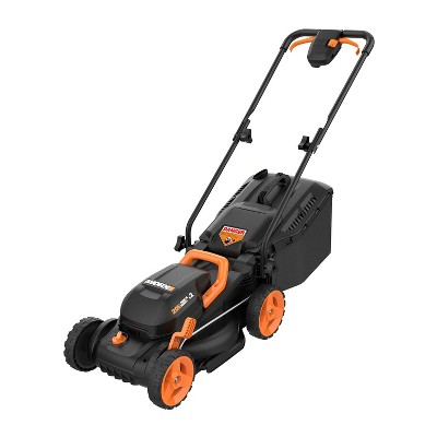 "Worx WG779 14"" Cordless Mower, 40V Li-ion Compatible, Bag and Mulch, Intellicut, Compact Storage"
