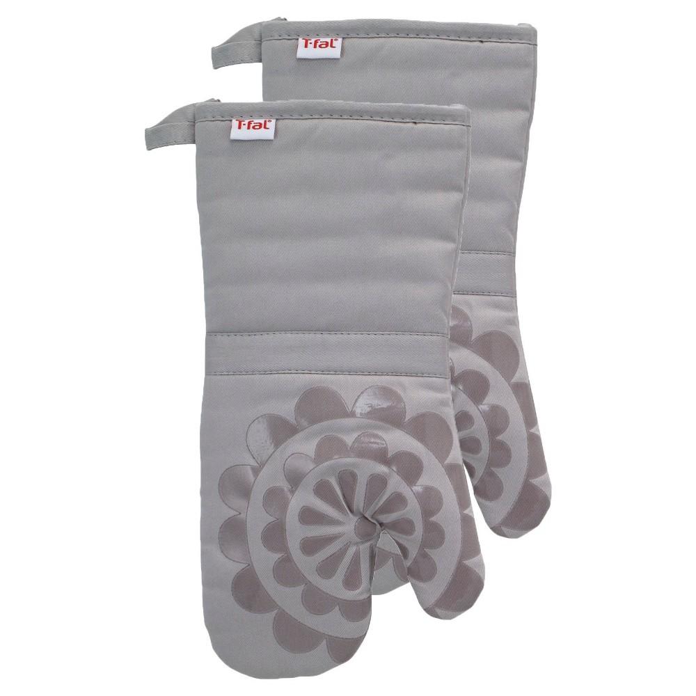 """Image of """"Gray Medallion Silicone Oven Mitt 2 Pack (13""""""""x13"""""""") T-Fal"""""""
