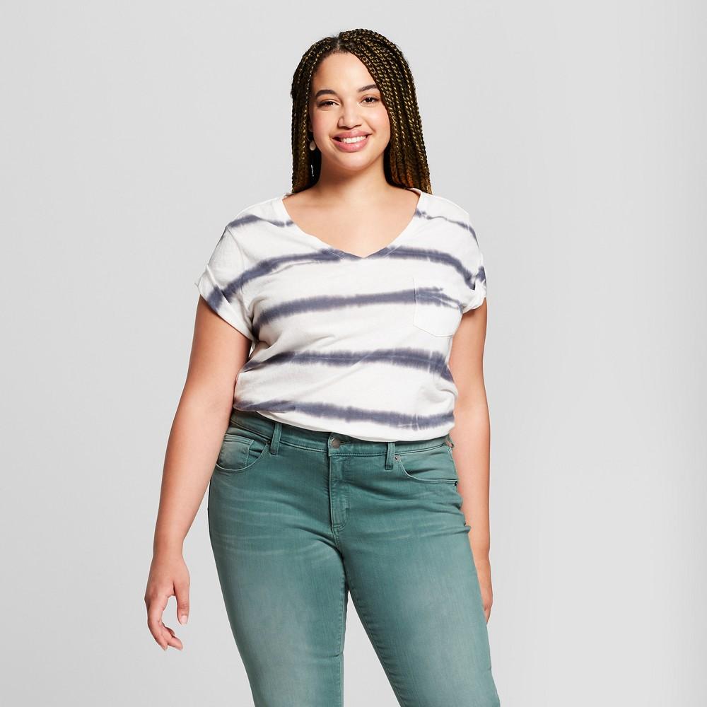 Women's Plus Size Striped Monterey Pocket V-Neck Short Sleeve T-Shirt - Universal Thread White 1X