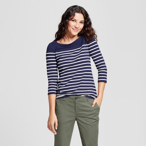 Women's Striped 3/4 Sleeve Boatneck T-Shirt - A New Day™ Navy/White L - image 1 of 3