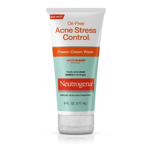 Neutrogena Oil-Free Acne Stress Control Power-Cream Wash - 6 fl oz - image 1 of 4