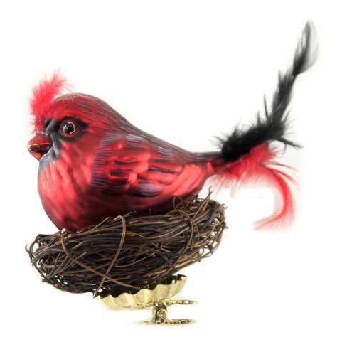 """Holiday Ornament 4.0"""" Red Bird With Twig Nest Clip On Cardinal  -  Tree Ornaments - image 1 of 3"""