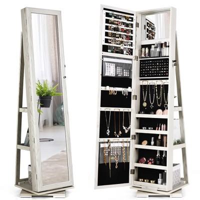 Lockable Mirrored Organizer White, Mirror With Jewelry Storage Target