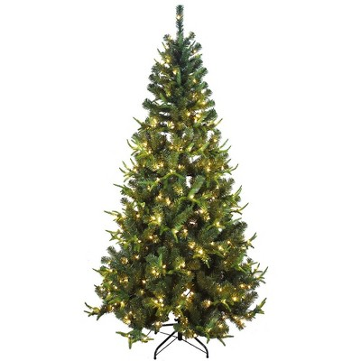 Kurt Adler 7' Pre-Lit Sierra Green Tree PVC and PE Christmas Tree