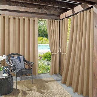 """108""""x52"""" Rodham Indoor/Outdoor Blackout Energy Efficient UV Resistant Curtain Panel Linen - Sun Zero"""