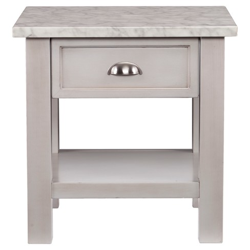 Youngsville Faux Marble Square End Table - Gray - Aiden Lane - image 1 of 4