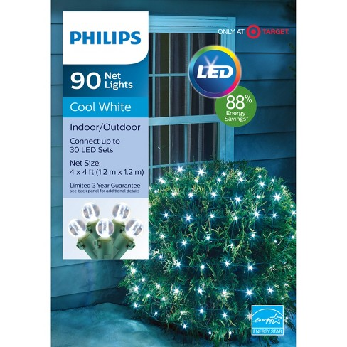 philips 90ct christmas led net string lights cool white gw target