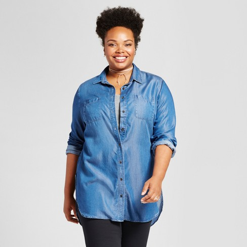 Women's Plus Size Tencel® Button-Down Tunic - Ava & Viv™ Medium Wash - image 1 of 2
