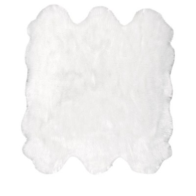 "5'3""x7'6"" Rectangle Loomed Solid Acrylic Area Rug White - nuLOOM"