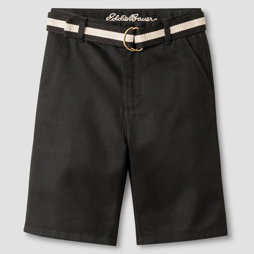 Eddie Bauer Boys' Twill Shorts with Belt 7 - Black
