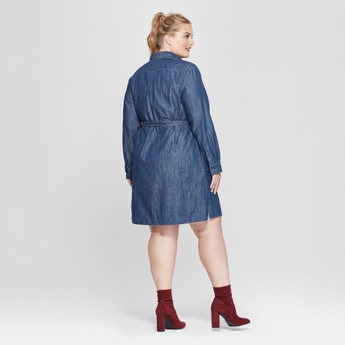 ac046a5a081 Women s Plus Size Denim Shirtdress - Ava   Viv™ Indigo   Target