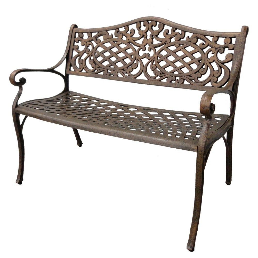 Image of Oakland Living Mississippi Cast Aluminum Patio Settee Bench