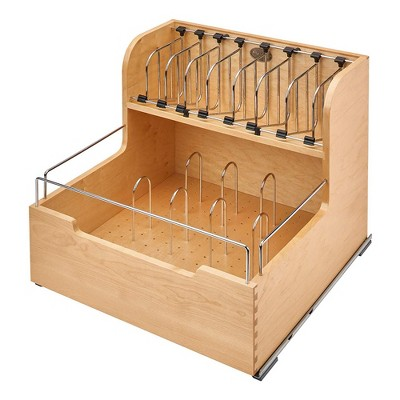 Rev-A-Shelf 4FSCO-24SC-1 Kitchen Food Storage Container Organizer Soft Close for 24 Inch Cabinets with Dividers, and Blumotion Slides, Natural