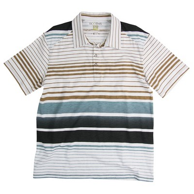 Ecoths Mens Stripe Relaxed Fit Short Sleeve Collared Polo Shirt - White Large