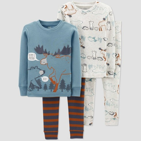 Baby Boys' 4pc Moose Pajama Set - Just One You® made by carter's Blue/Brown 9M - image 1 of 1