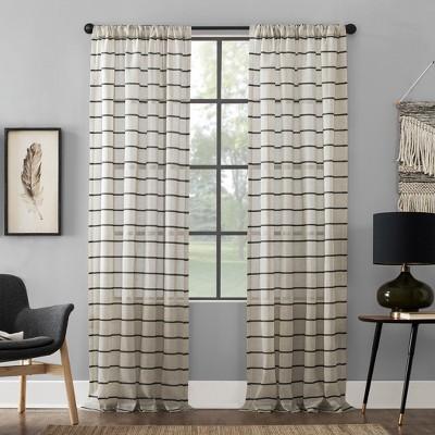 "84""x52"" Twill Stripe AntiDust Curtain Panel Black/Linen - Clean Window"