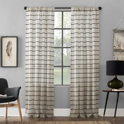 Twill Stripe Anti-Dust Curtain Panel - Clean Window - image 1 of 4