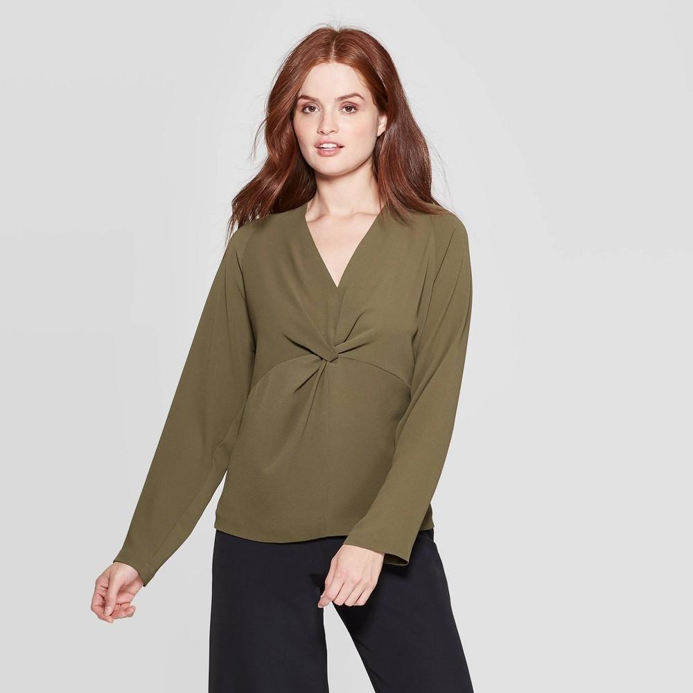 Women's Regular Fit Reglan Long Sleeve V Neck Twist Front Blouse Prologue Olive L, Size: Large, Green