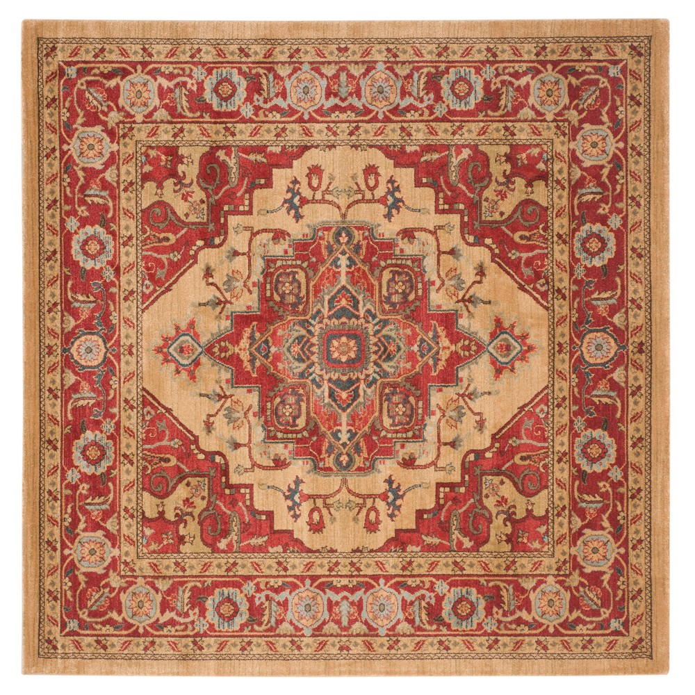 Red/Natural Floral Loomed Square Area Rug 6'7