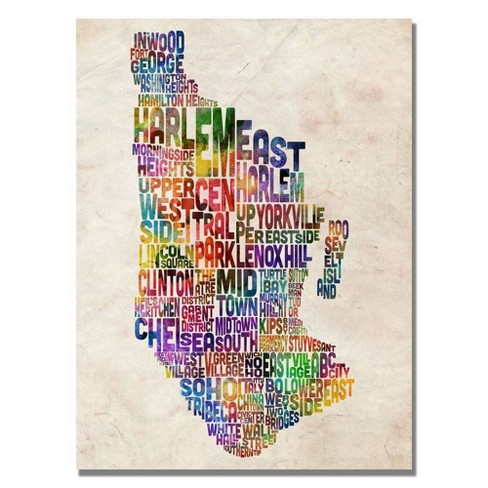 "22"" x 32"" Manhatan Typography Map by Michael Tompsett - Trademark Fine Art - image 1 of 4"