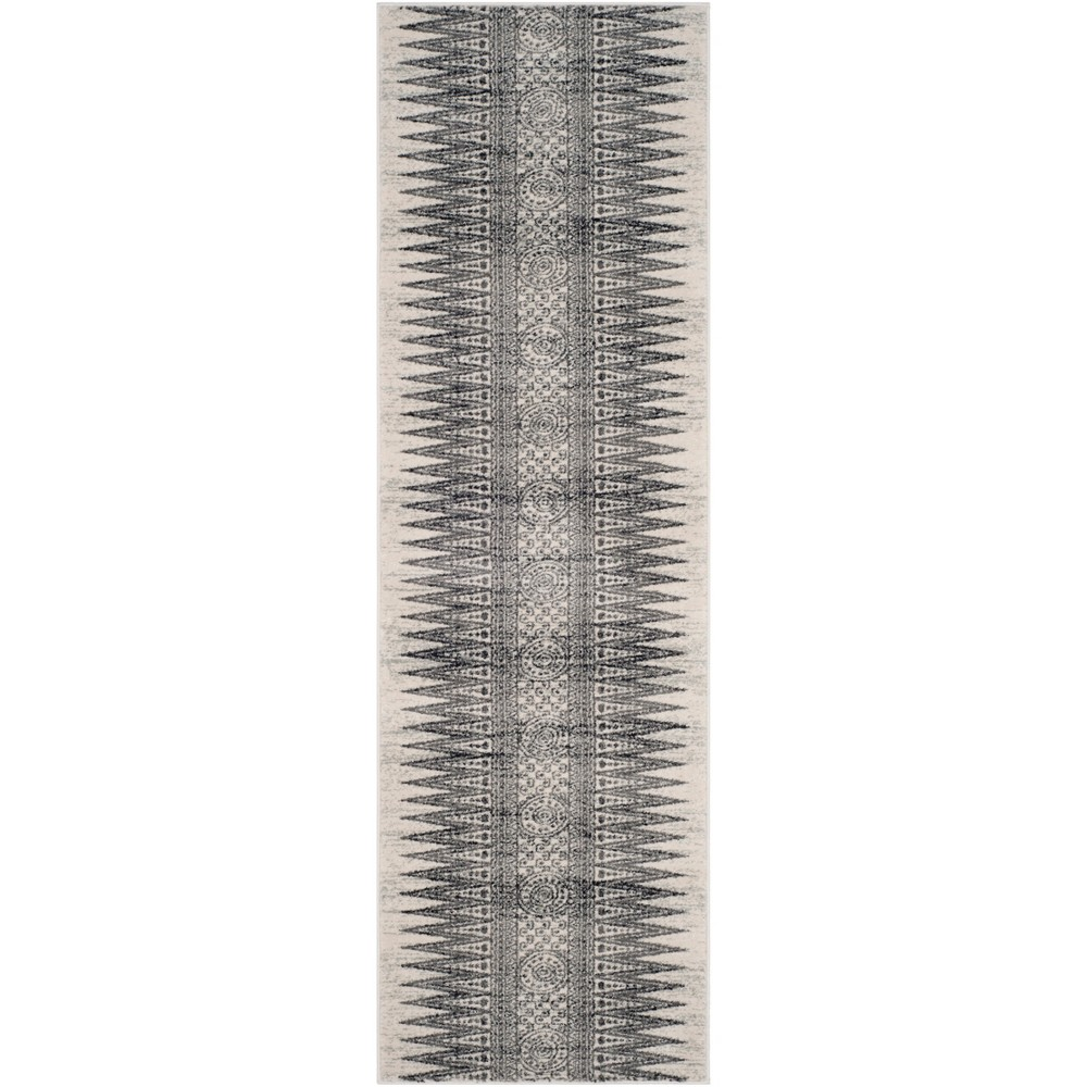 Tribal Design Loomed Runner Rug Ivory/Gray