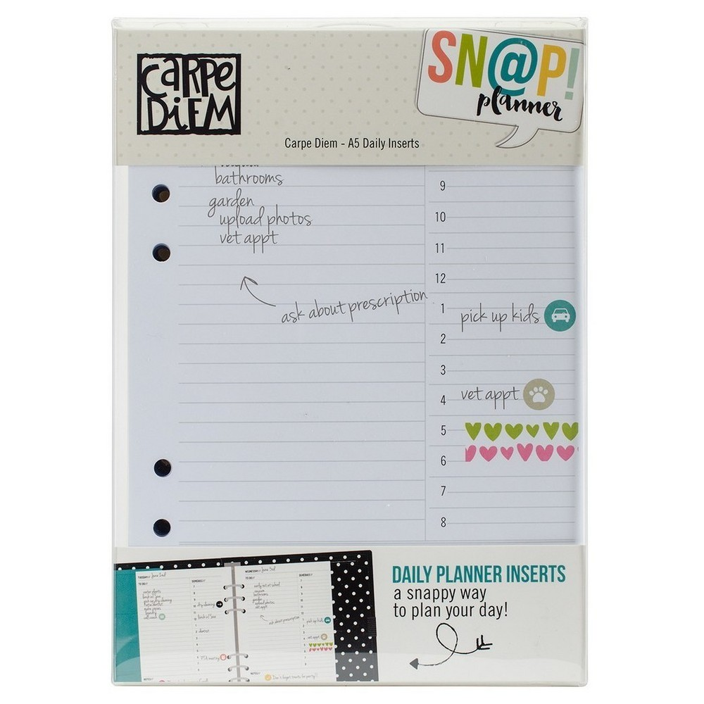 Carpe Diem A5 Double-Sided Daily Inserts 8.25x5.75, Winter White