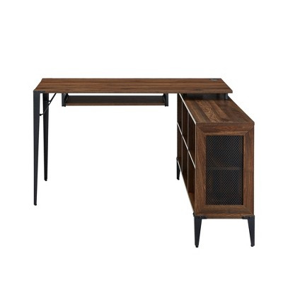 Innovative Industrial Executive Desk With CPU Tower Stand - Saracina Home : Target